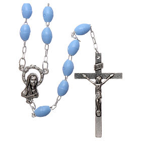 Rosary in plastic 5x3 mm grains, blue s1
