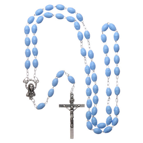 Rosary in plastic 5x3 mm grains, blue 4