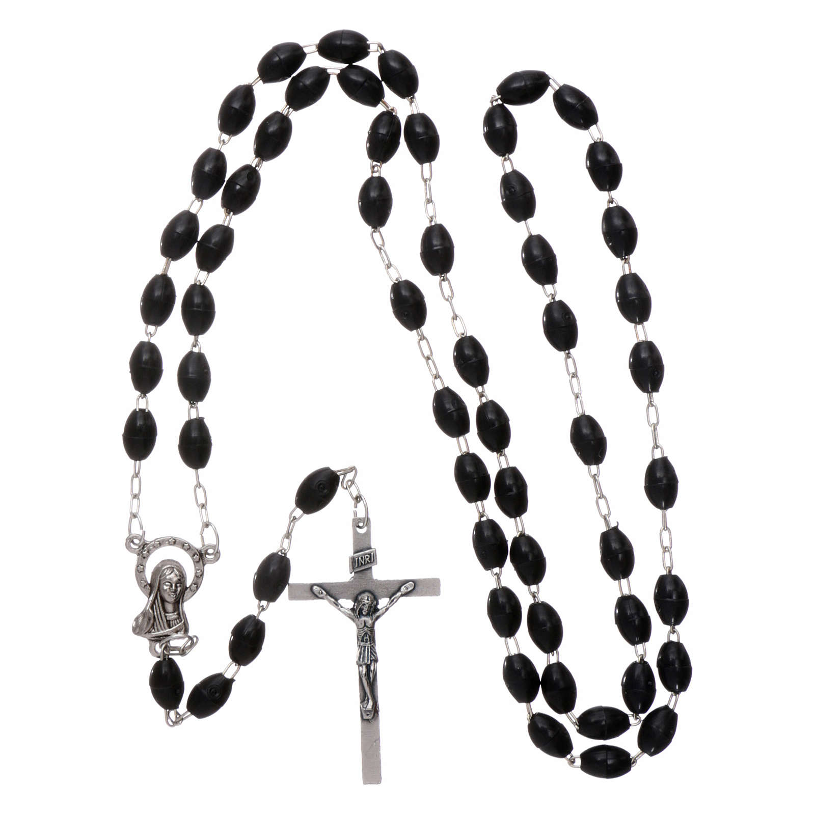 Rosary in plastic 5x3 mm grains, black 4