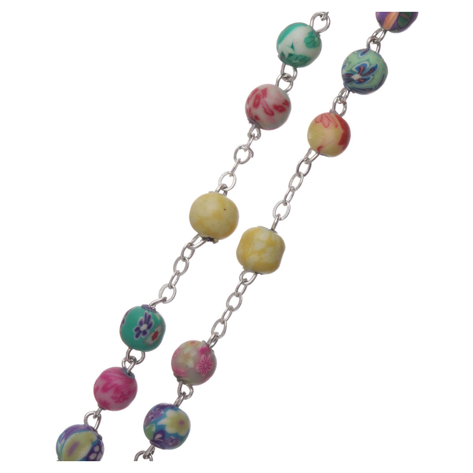 Rosario plastica con grani rotondi multicolore 4 mm 4