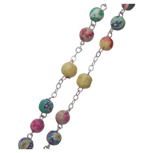Rosario plastica con grani rotondi multicolore 4 mm 3