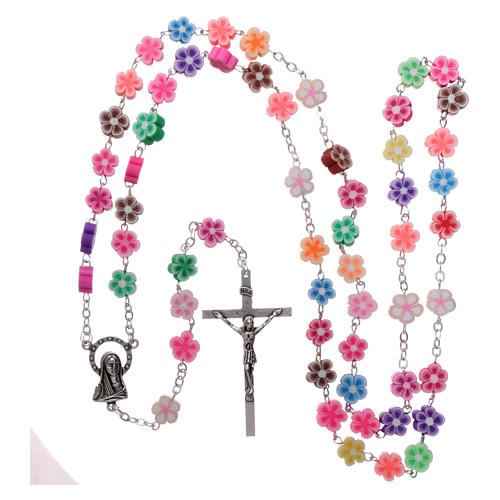 Rosary in plastic with 5x5 mm flower-shaped grains, multicolour 4