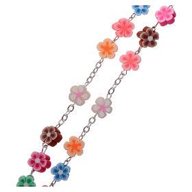 Chapelet plastique avec grains fleurs multicolores 5 mm s3