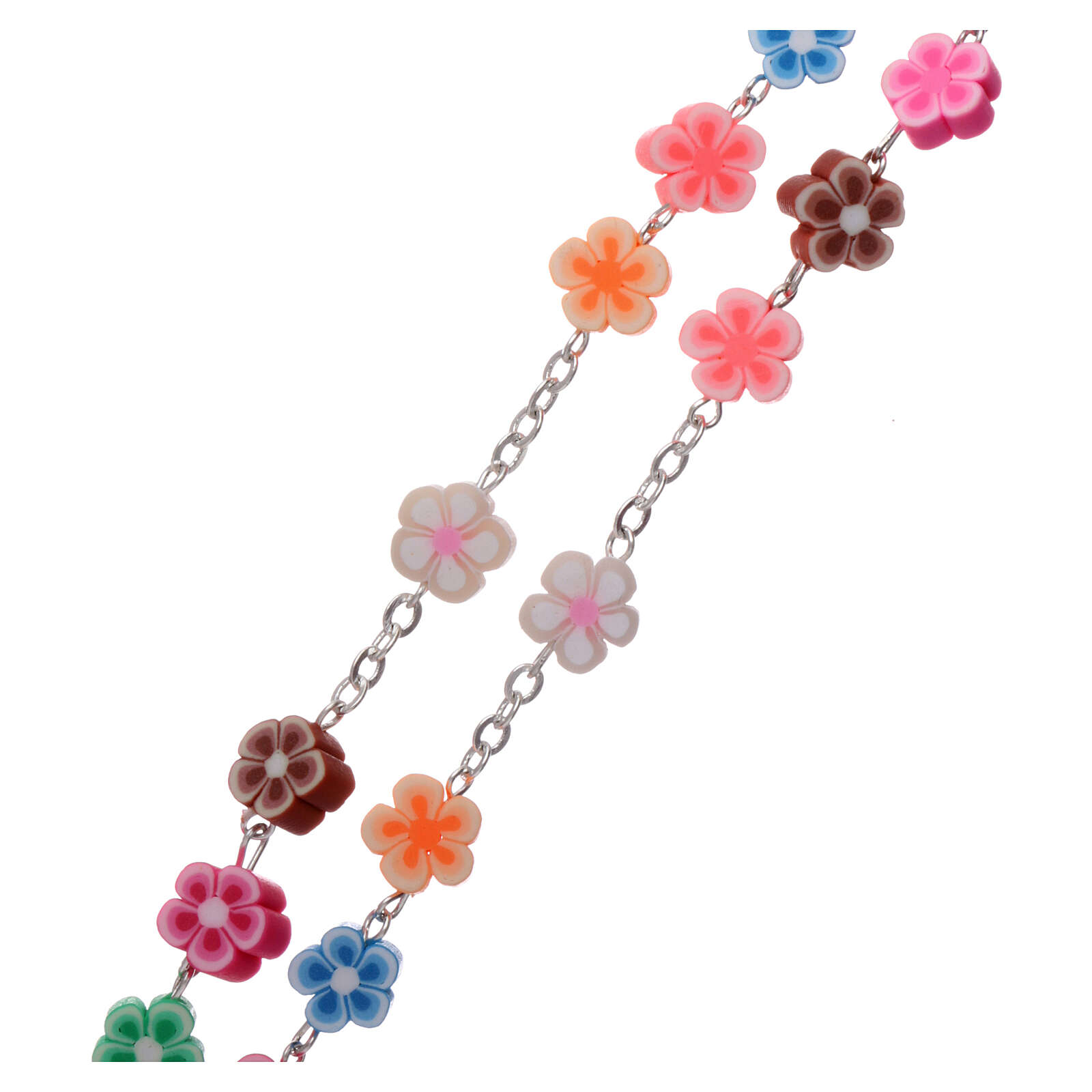 Plastic rosary flower shaped multicolored beads 5 mm 4