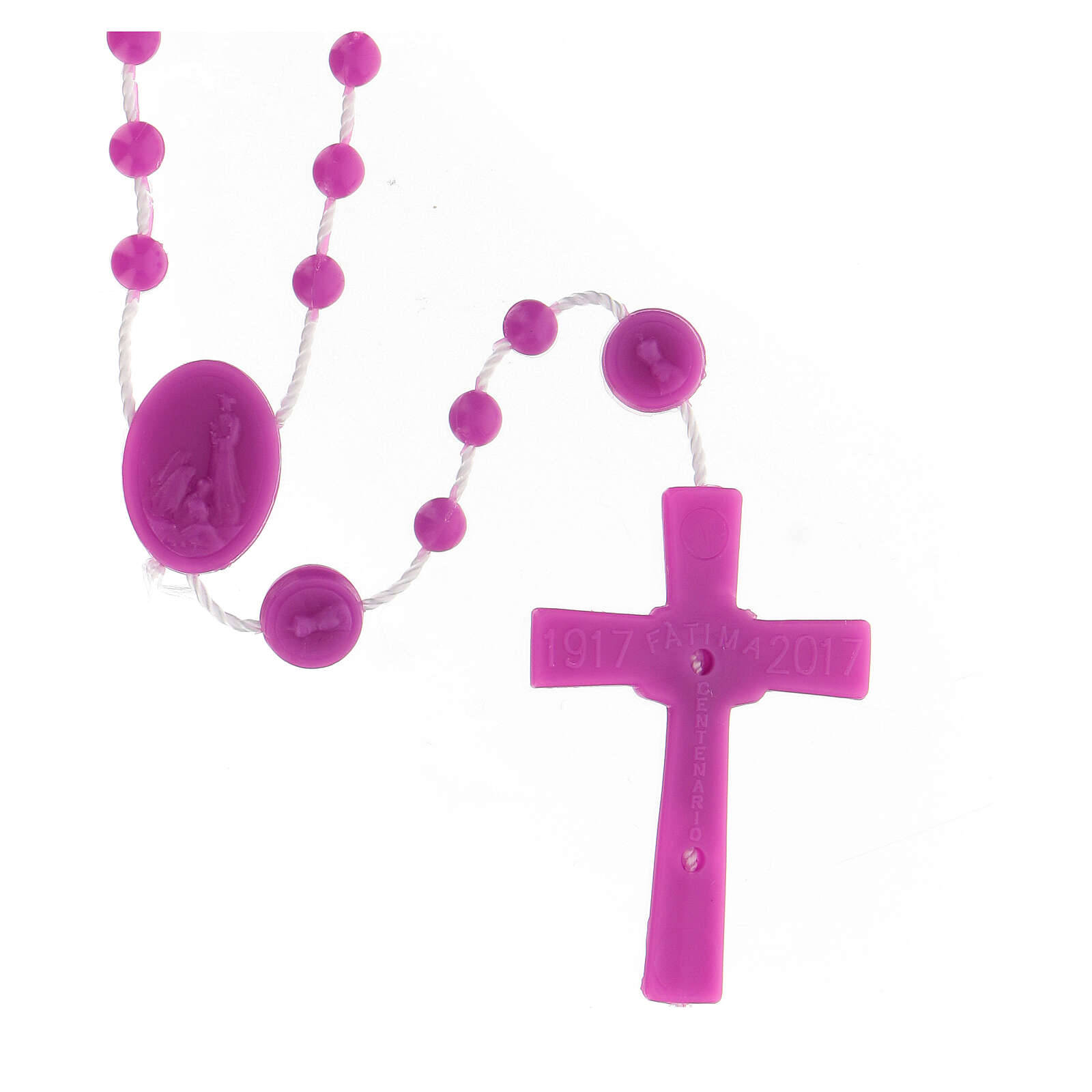 STOCK Terço nylon Nossa Senhora de Fátima contas cor-de-rosa 4 mm 4
