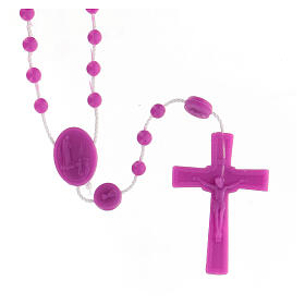 STOCK Terço nylon Nossa Senhora de Fátima contas cor-de-rosa 4 mm s1