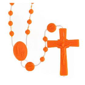 STOCK Rosario economico Fatima grani nylon arancio 4 mm s1
