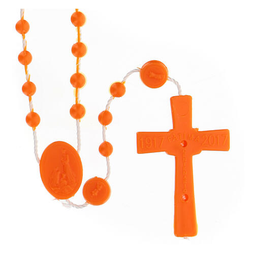 STOCK Rosario economico Fatima grani nylon arancio 4 mm 2