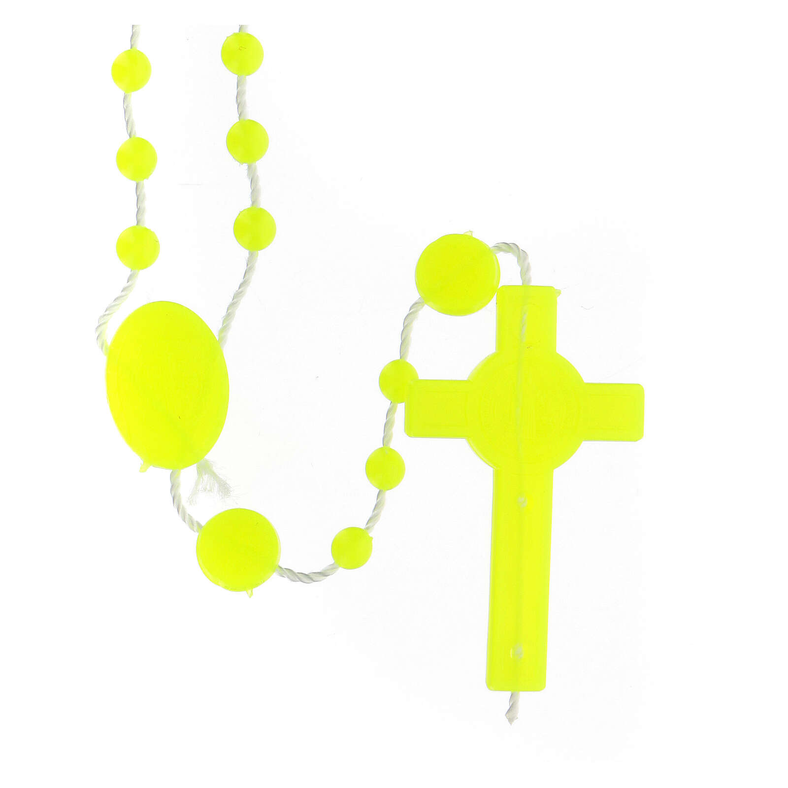 STOCK Chapelet jaune fluo St Benoît 4 mm nylon 4