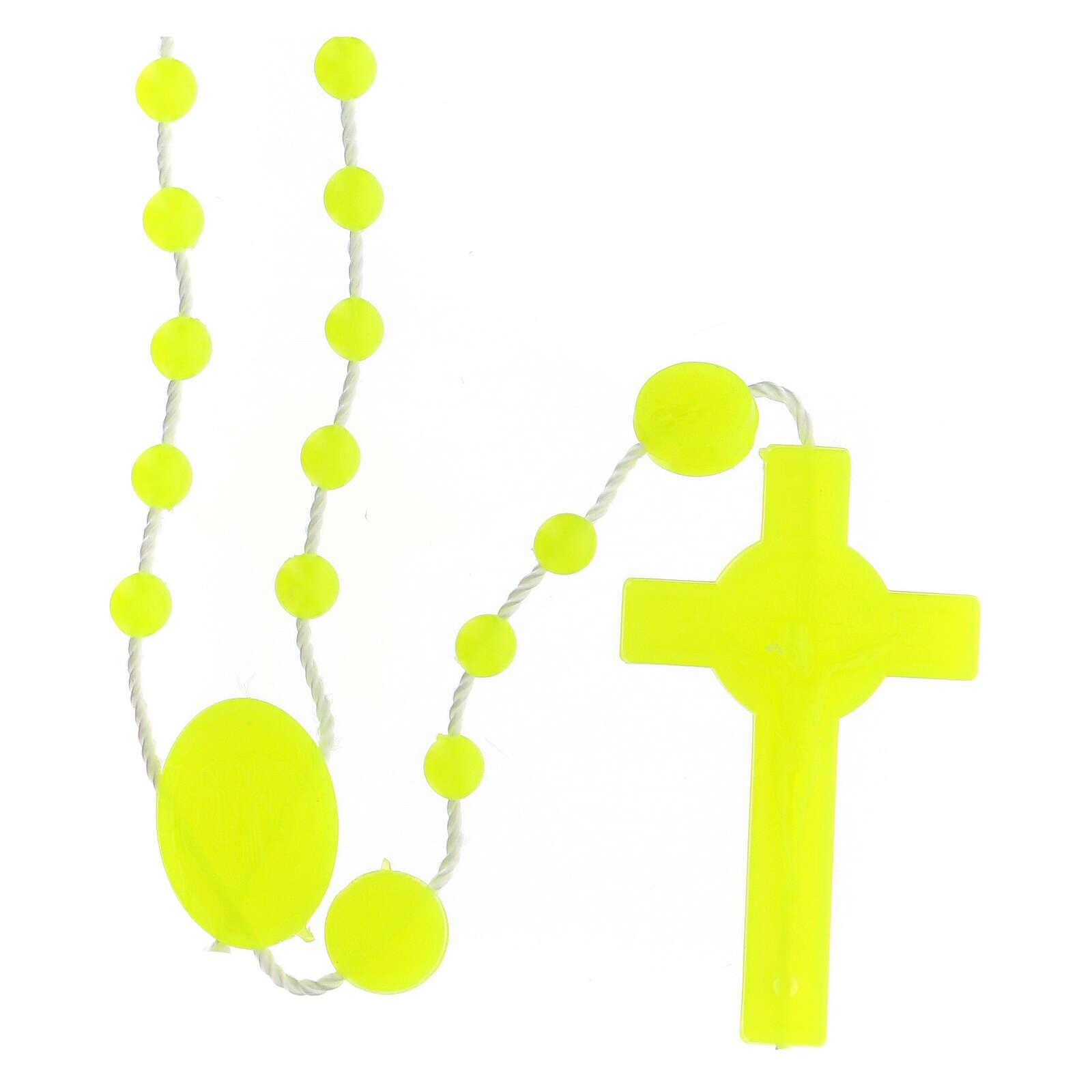 STOCK Terço nylon amarelo fluorescente São Bento contas de 4 mm 4