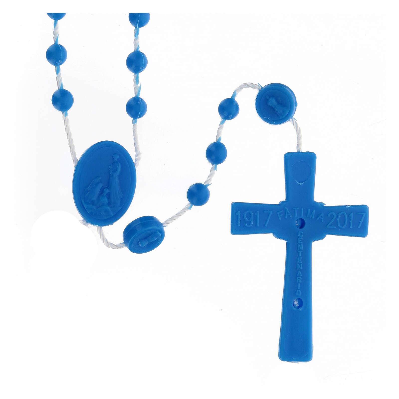 STOCK Terço nylon Nossa Senhora de Fátima contas azuis 4 mm 4