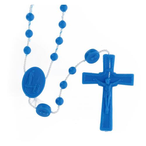 STOCK Terço nylon Nossa Senhora de Fátima contas azuis 4 mm 1