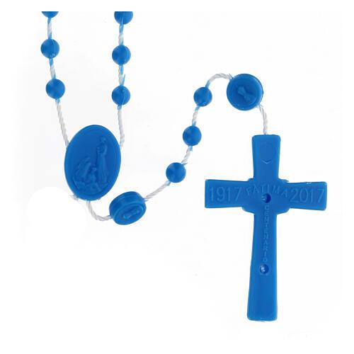 STOCK Terço nylon Nossa Senhora de Fátima contas azuis 4 mm 2