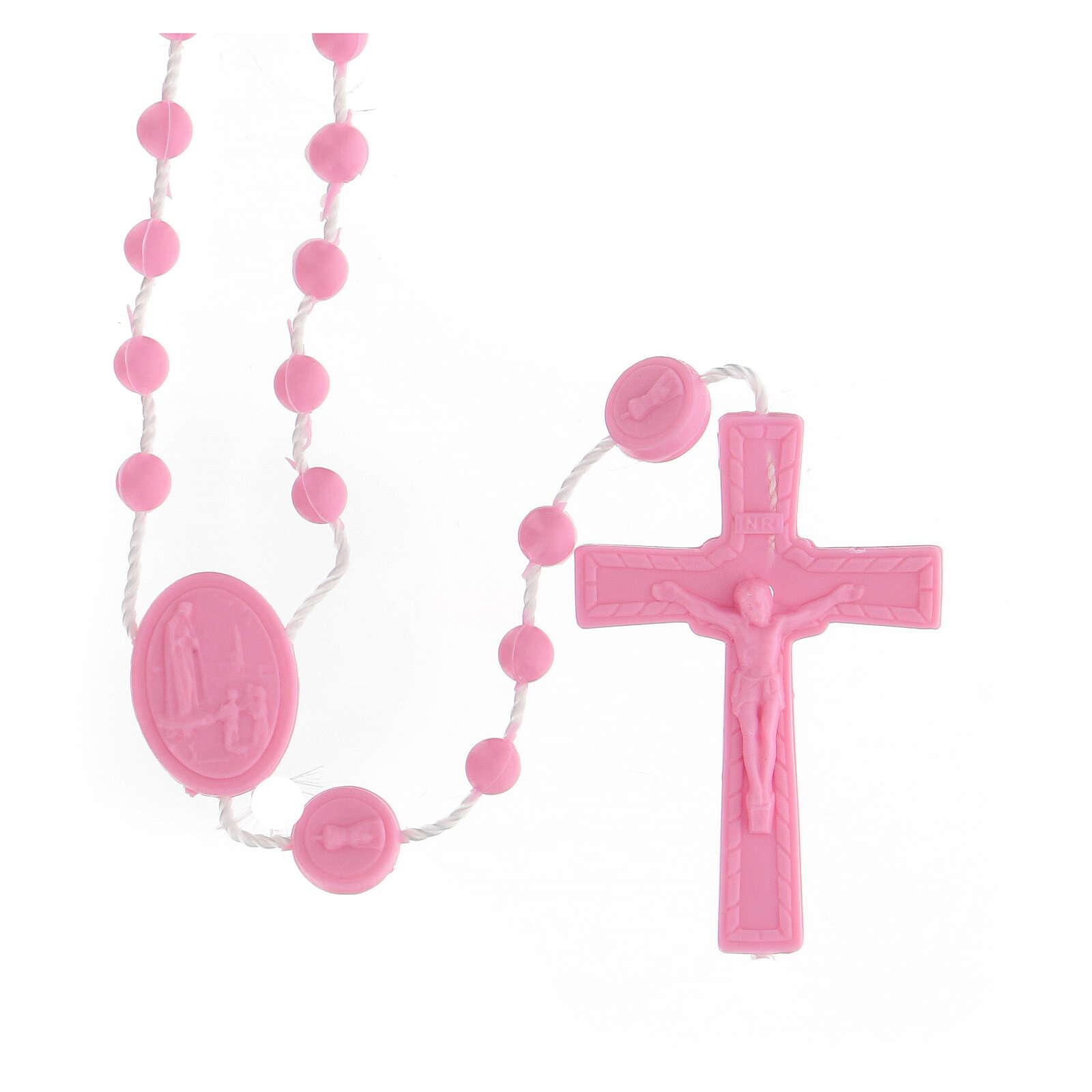 STOCK Rosario Fatima economico nylon rosa 4 mm 4