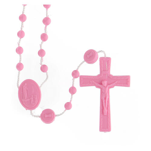 STOCK Rosario Fatima economico nylon rosa 4 mm 1