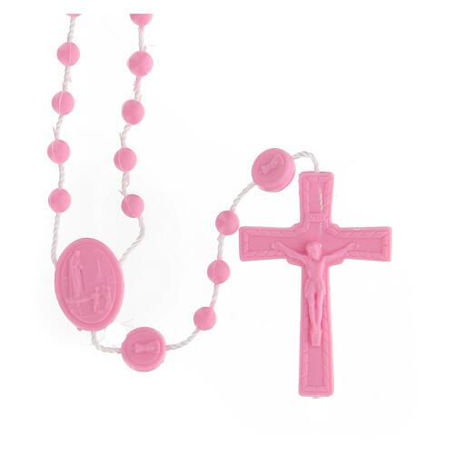 STOCK Terço nylon Nossa Senhora de Fátima contas cor-de-rosa 4 mm 1