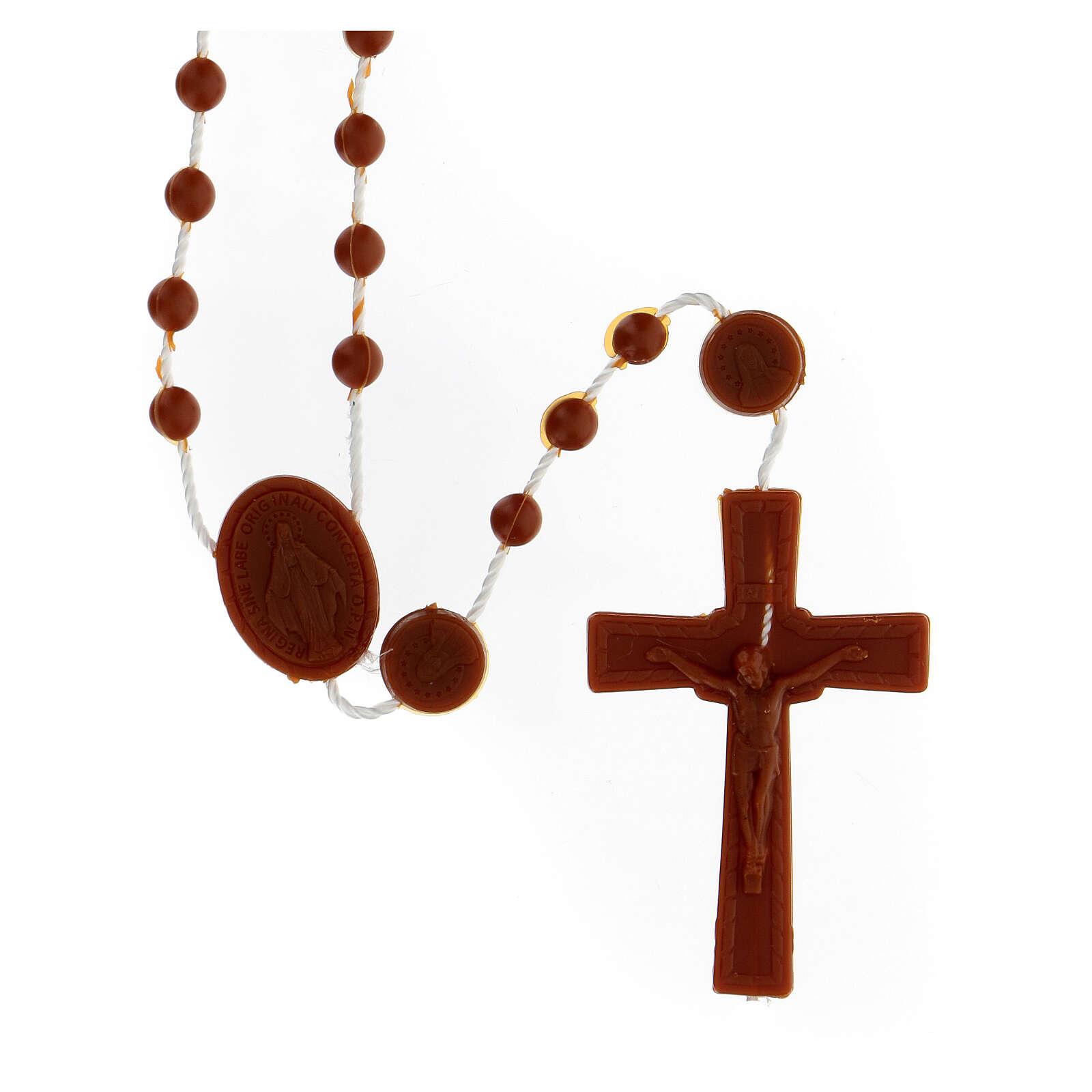 STOCK Terço nylon castanho Nossa Senhora da Medalha Milagrosa contas 4 mm 4