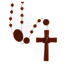 STOCK Terço nylon castanho Nossa Senhora da Medalha Milagrosa contas 4 mm s1