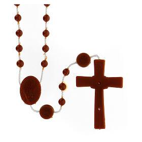 STOCK Terço nylon castanho Nossa Senhora da Medalha Milagrosa contas 4 mm s2