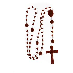 STOCK Terço nylon castanho Nossa Senhora da Medalha Milagrosa contas 4 mm s4