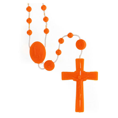 STOCK Rosario Fatima nylon arancio 4 mm 1