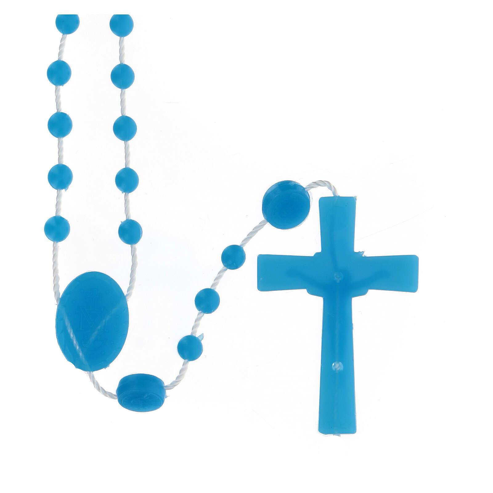STOCK Terço nylon azul Nossa Senhora da Medalha Milagrosa contas 4 mm 4