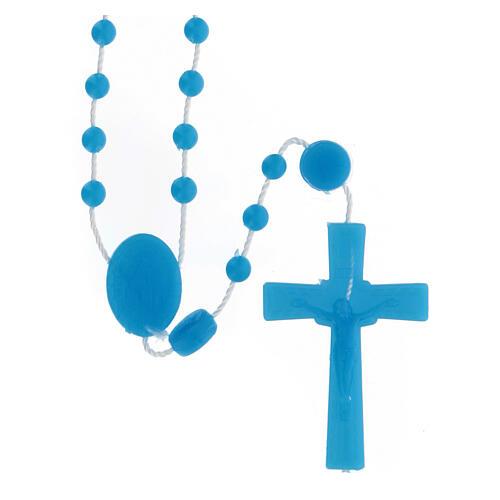 STOCK Terço nylon azul Nossa Senhora da Medalha Milagrosa contas 4 mm 1