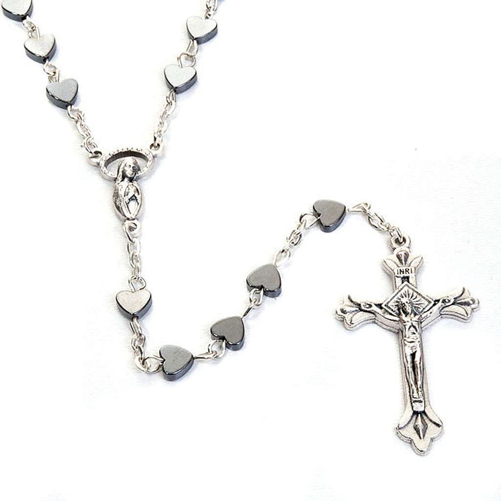 Hematite heart-shaped beads rosary 4