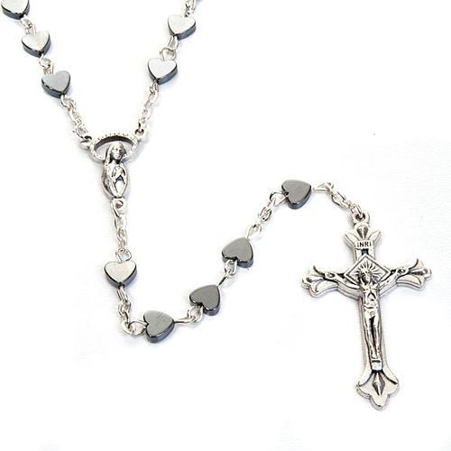 Hematite heart-shaped beads rosary 2