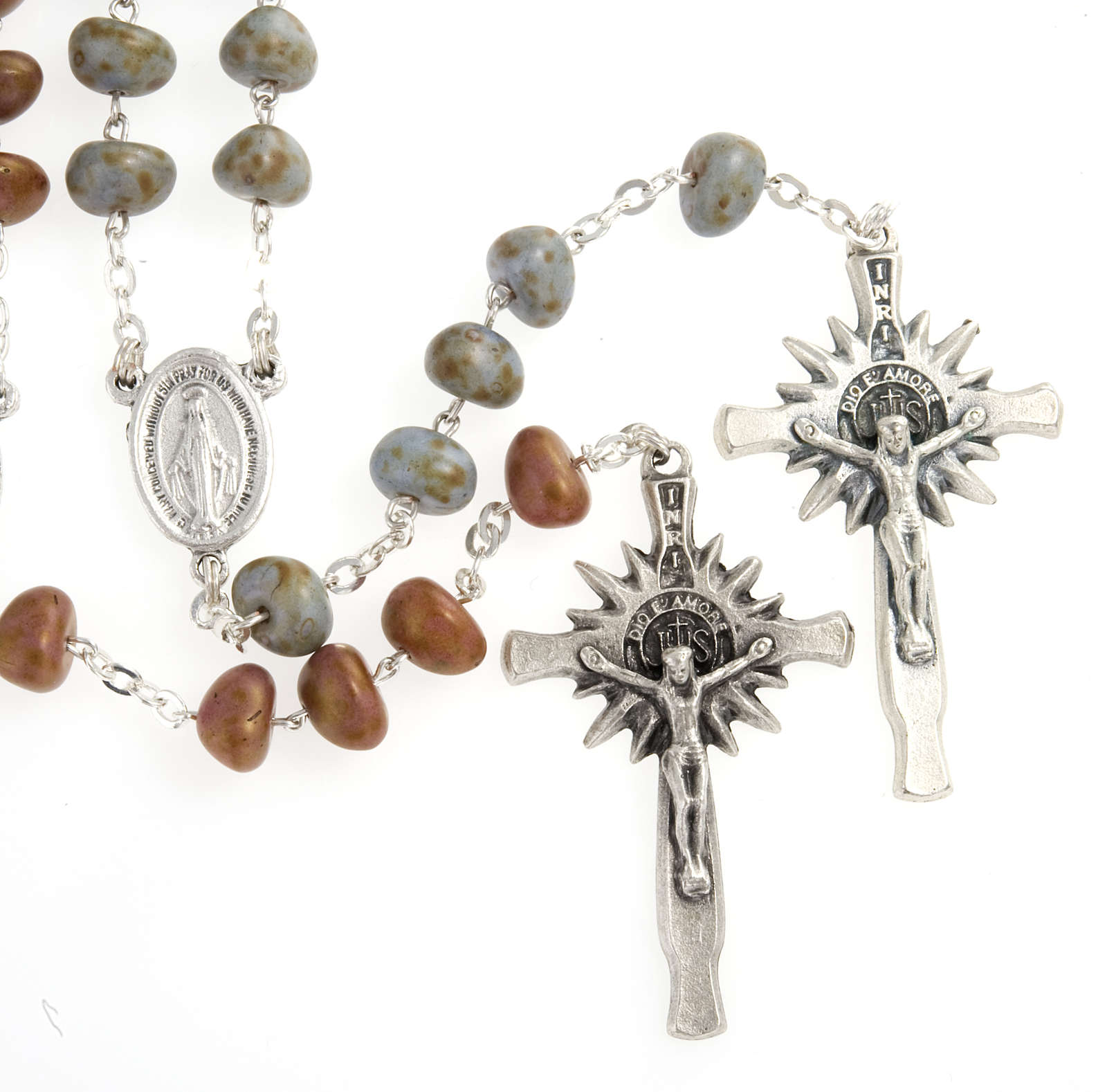 Stone-like rosary beads, silver metal, 9mm 4