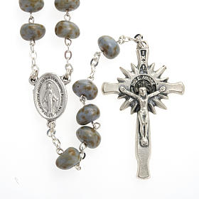 Stone-like rosary beads, silver metal, 9mm s2