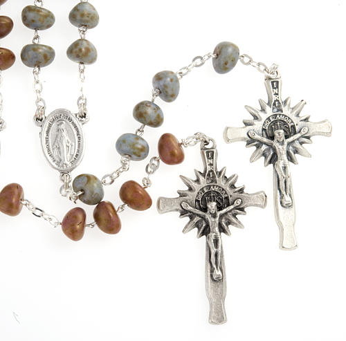 Stone-like rosary beads, silver metal, 9mm 1