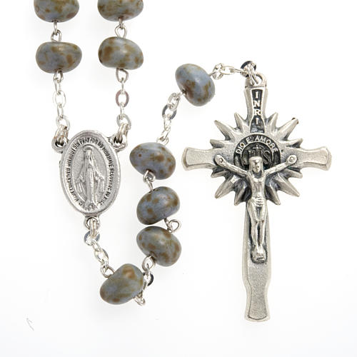 Stone-like rosary beads, silver metal, 9mm 2