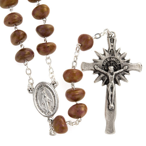 Stone-like rosary beads, silver metal, 9mm 3