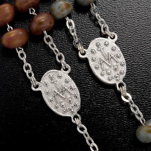 Stone-like rosary beads, silver metal, 9mm 5