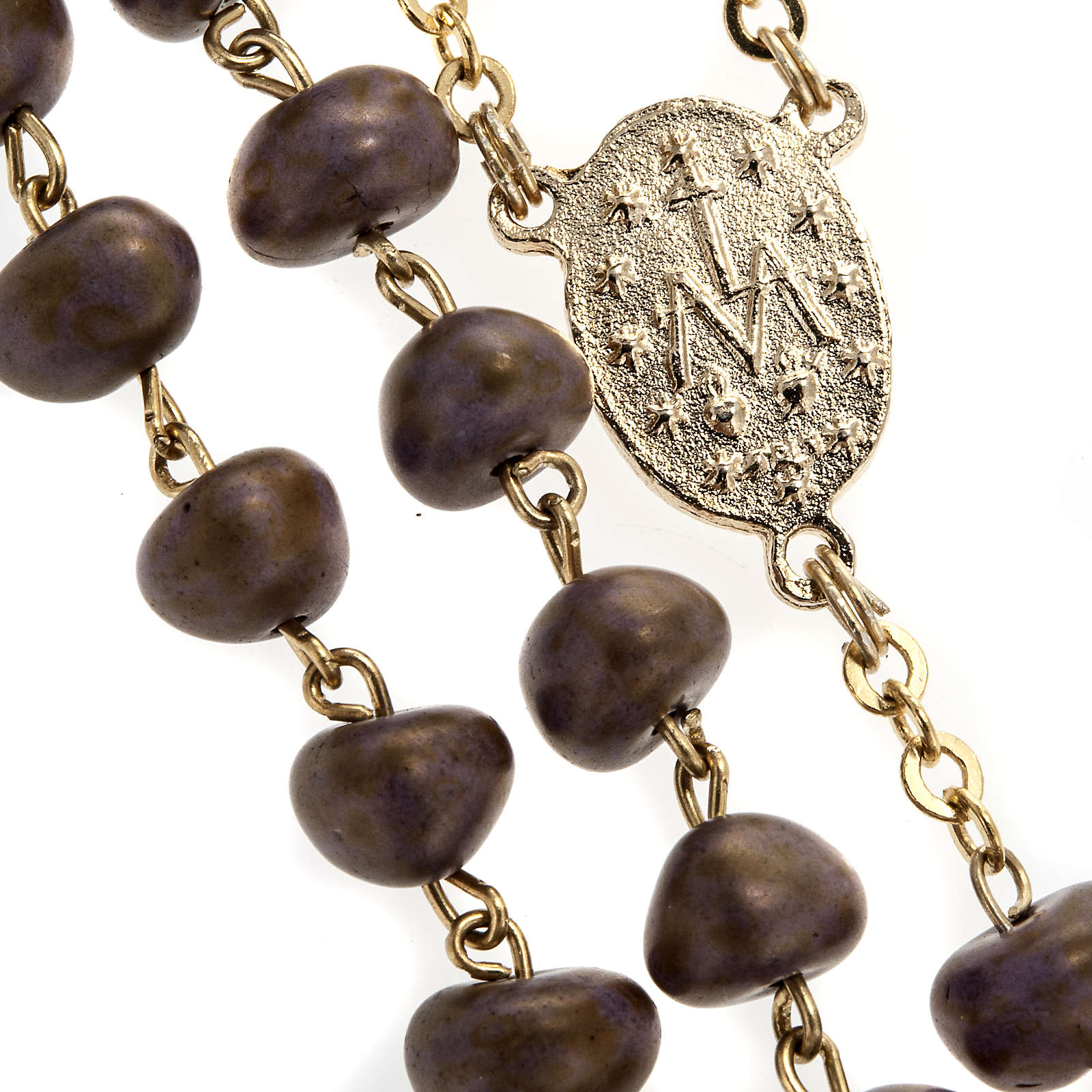 Stone-like rosary beads, golden metal, 9mm 4