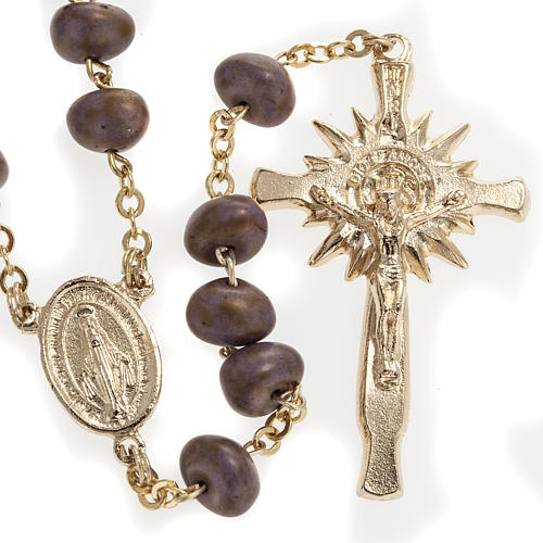 Stone-like rosary beads, golden metal, 9mm 1