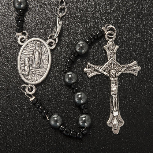 Hematite rosary beads with Our Lady of Lourdes centerpiece 2