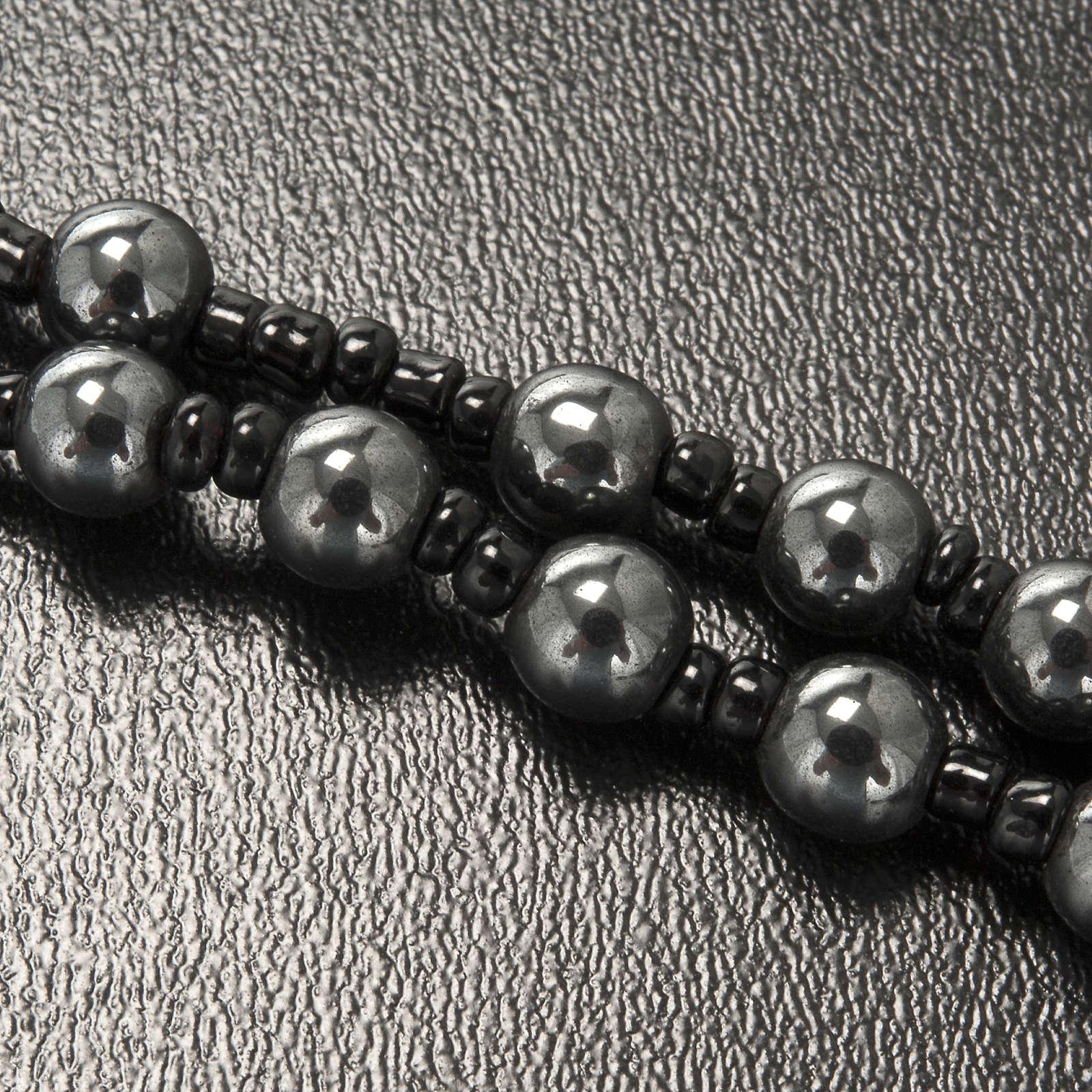 Collar rosario hematites Lourdes 4
