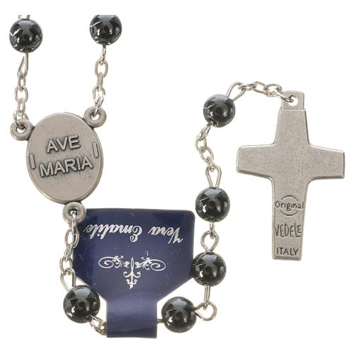 Rosary with Pope Francis in haematite 6mm 2