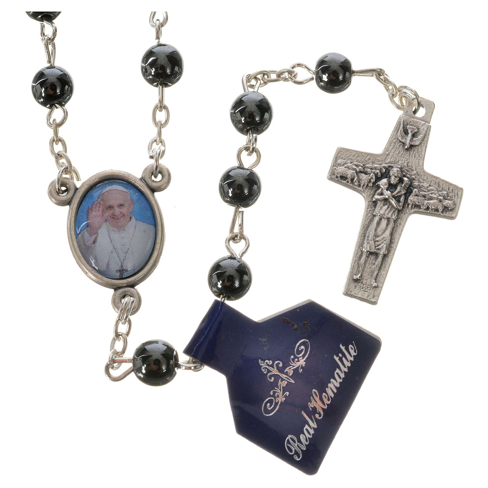 Rosary with Pope Francis in haematite 6mm 4