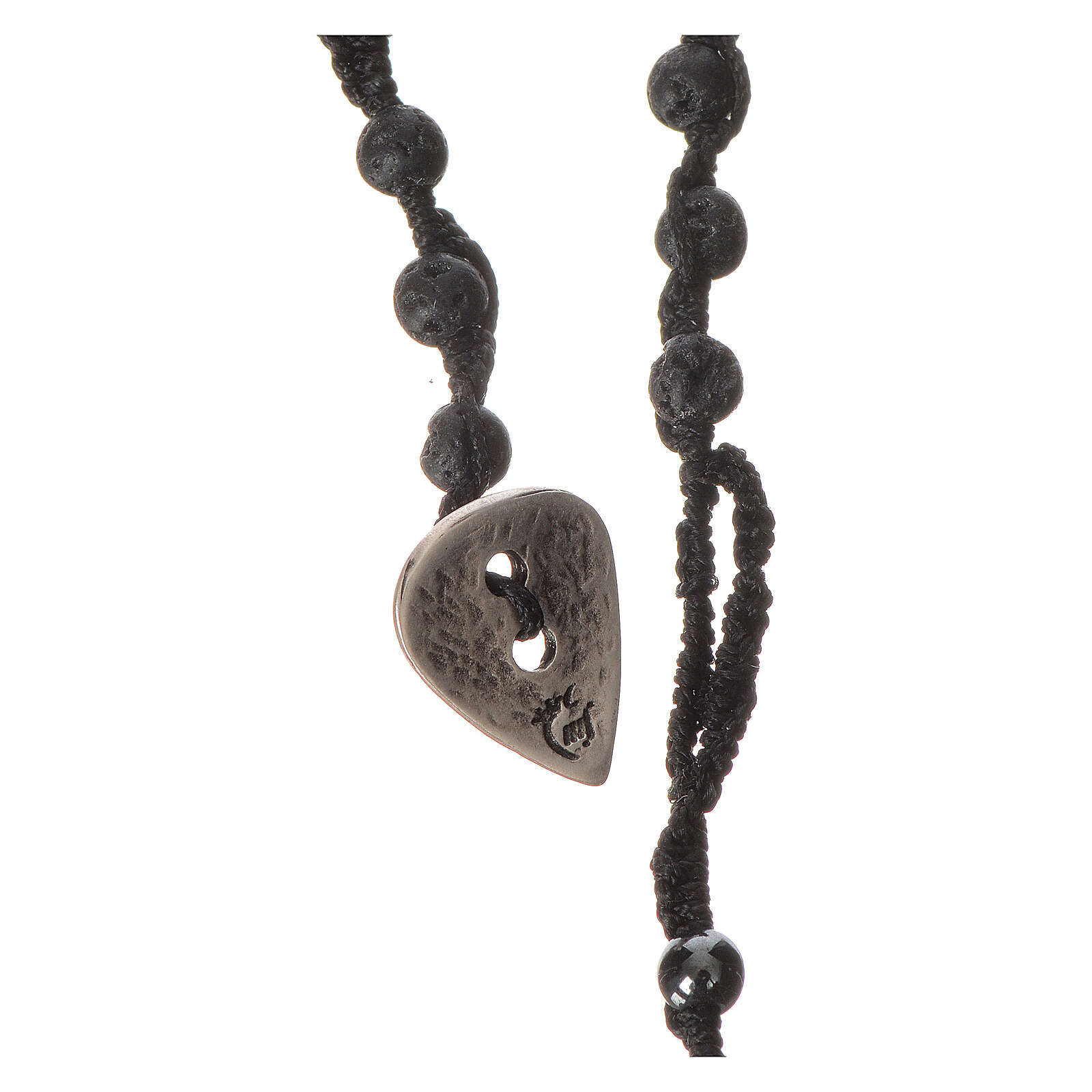 Rosary necklace in igneous stone and hematite 4mm 4