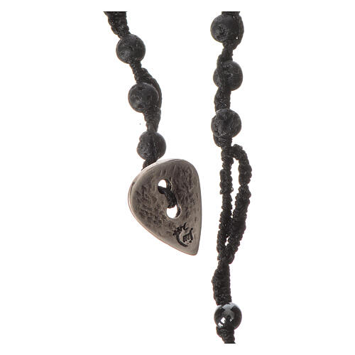 Rosary necklace in igneous stone and hematite 4mm 3