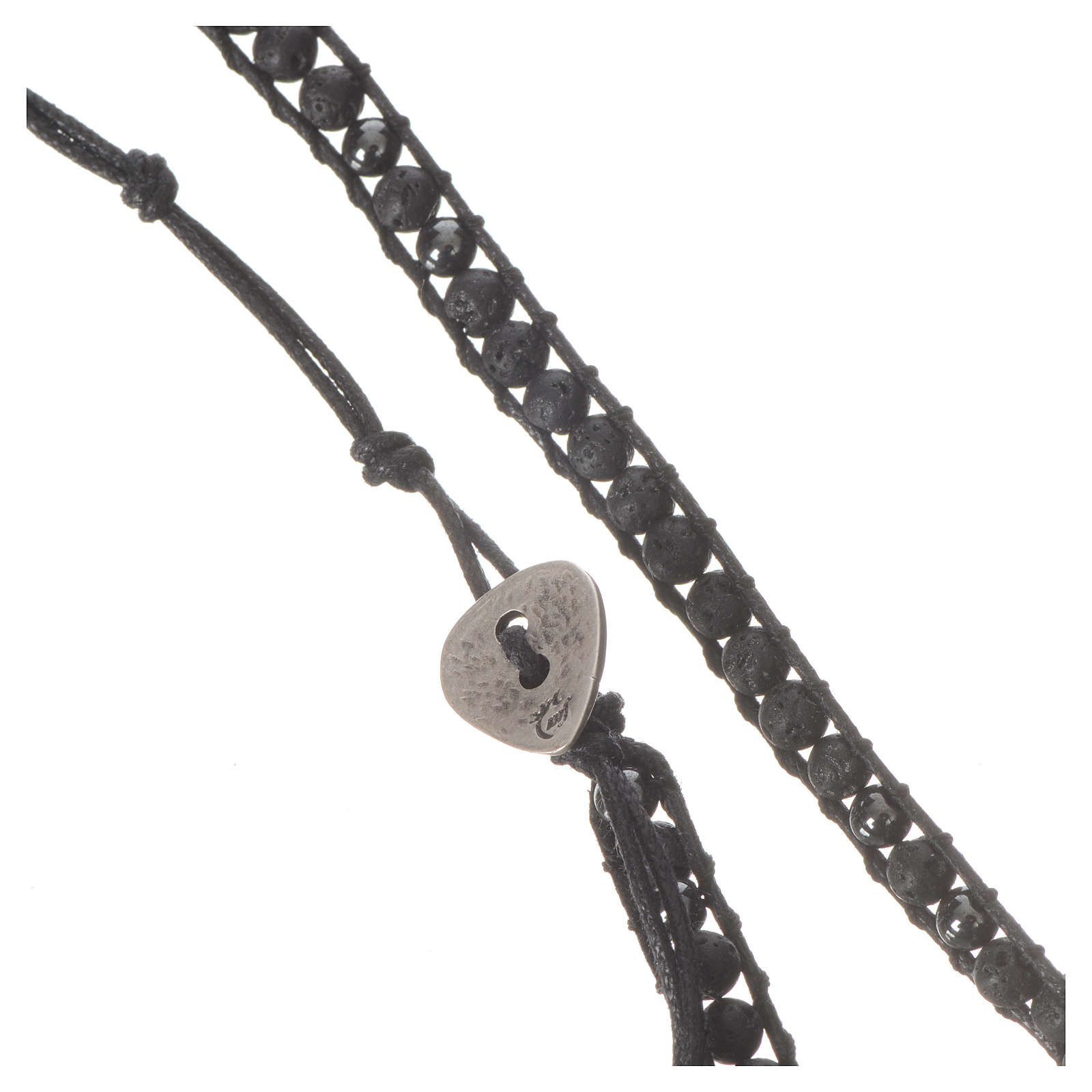 Collana Rosario in pietra lavica ed ematite 4 mm 4