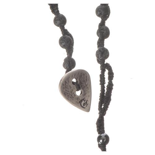 Collana Rosario in pietra lavica ed ematite 4 mm 3