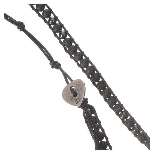 Collana Rosario in pietra lavica ed ematite 4 mm 6