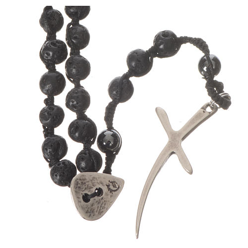 Rosary necklace in igneous stone and hematite 6mm 1