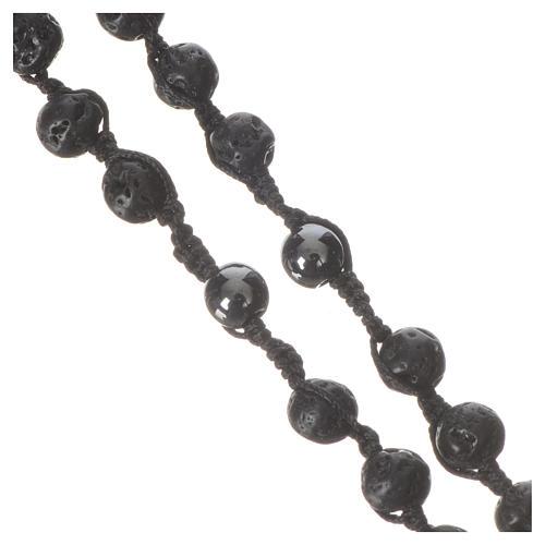 Rosario collar de piedra volcánica y hematita 6 mm 4
