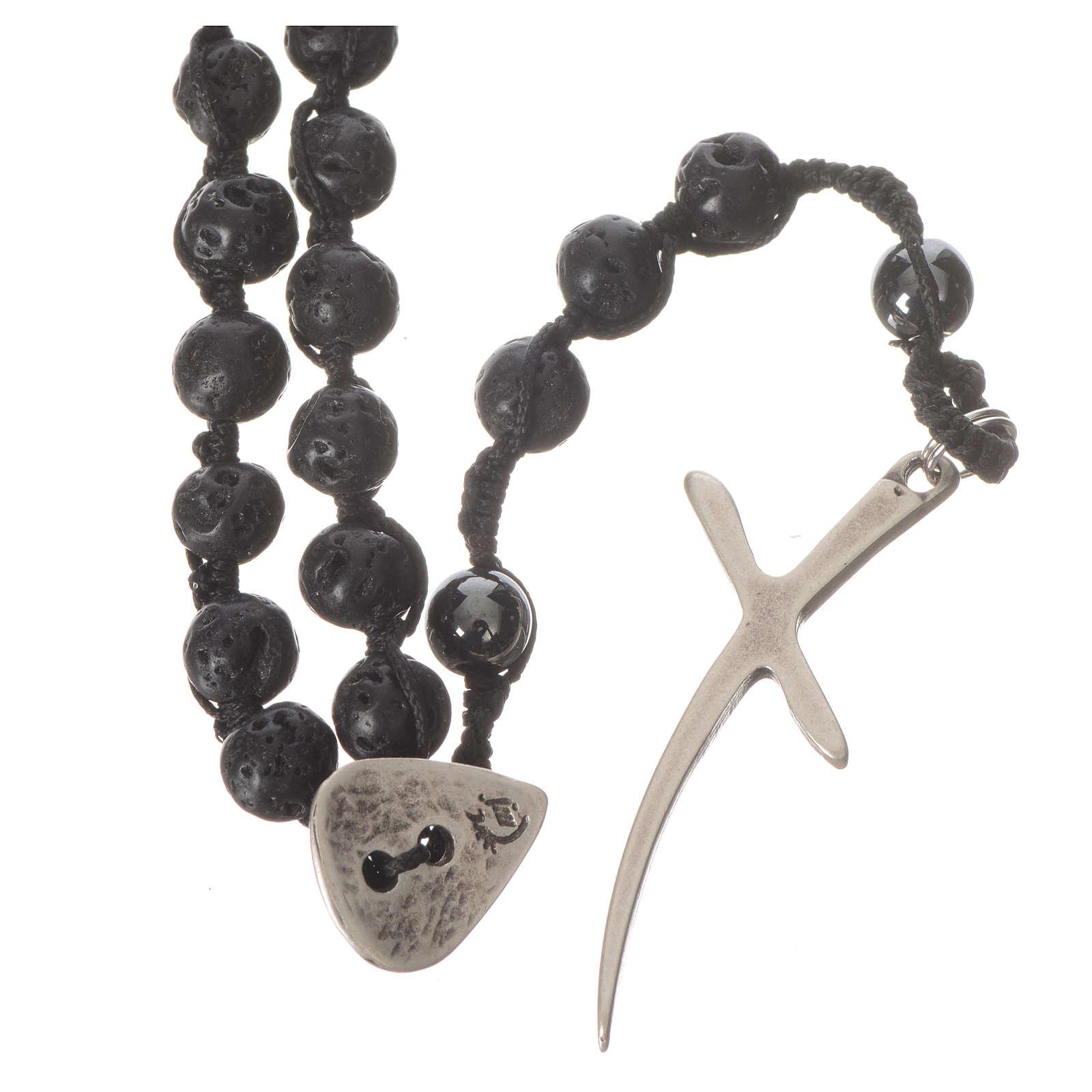 Collana Rosario in pietra lavica ed ematite 6 mm 4