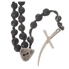 Rosari pietra dura: Collana Rosario in pietra lavica ed ematite 6 mm